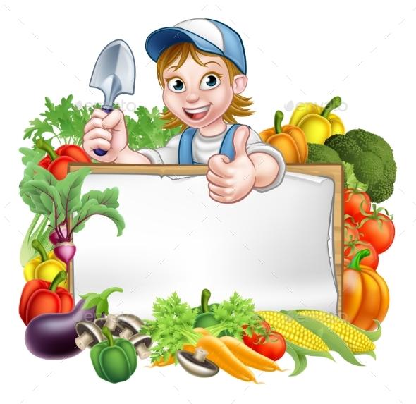 Woman Gardener Vegetables Sign - Miscellaneous Vectors