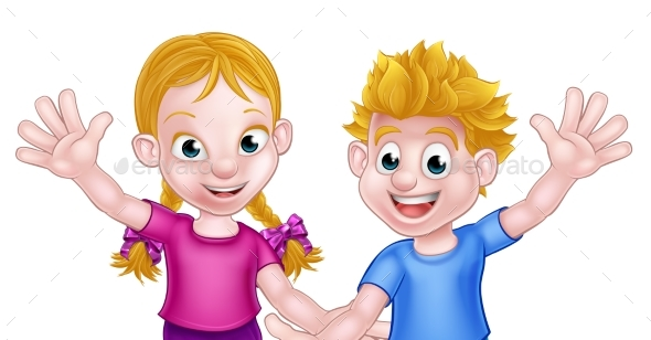 Cartoon Boy and Girl Kids - People Characters
