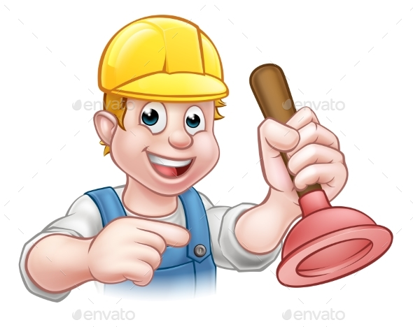 Plumber Holding Plunger with Hard Hat - Industries Business