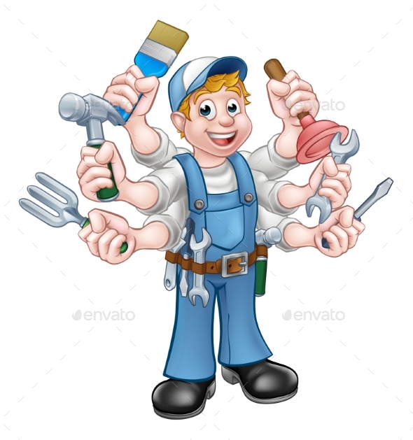 Cartoon Handyman - Industries Business