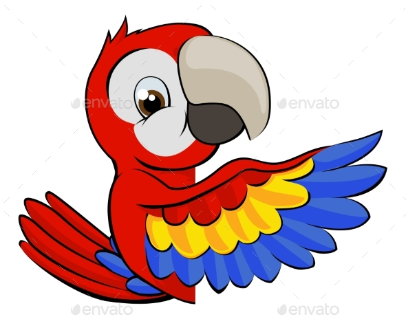 Peeking Cartoon Parrot - Animals Characters