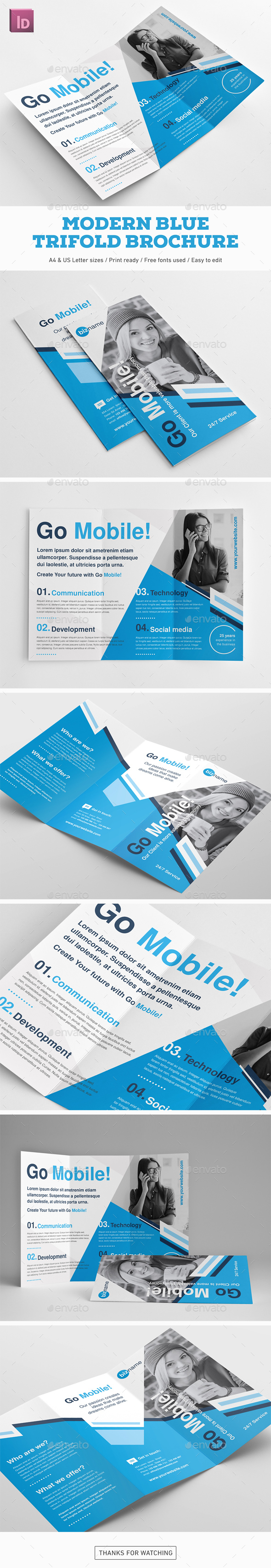 Modern Blue Trifold Brochure - Corporate Brochures