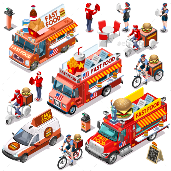 Fast Food Truck Van Meal Delivery Vector Isometric Vehicle Pack - Food Objects