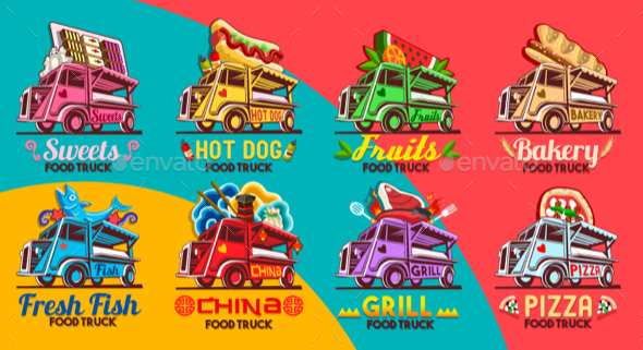 Fast Food Truck Van Restaurant Delivery Icon Vector Logo Pack - Food Objects