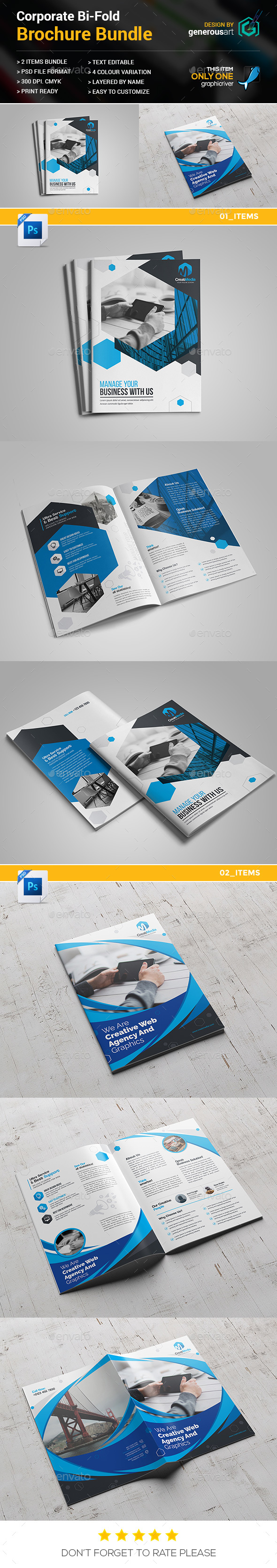 Business Bi-Fold Brochure Bundle 2 in 1 - Brochures Print Templates