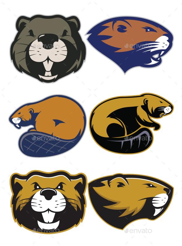 Beaver Mascot Logo - Animals Characters