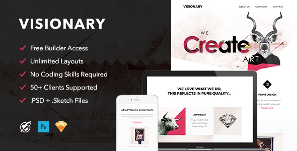 Visionary - Responsive Email + Themebuilder Access - Email Templates Marketing