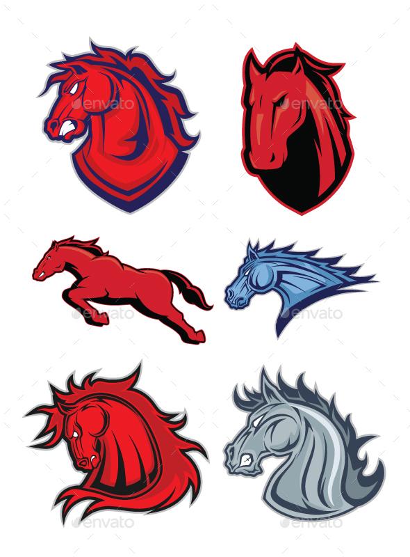 Horse or Mustang Mascot Logo - Animals Characters