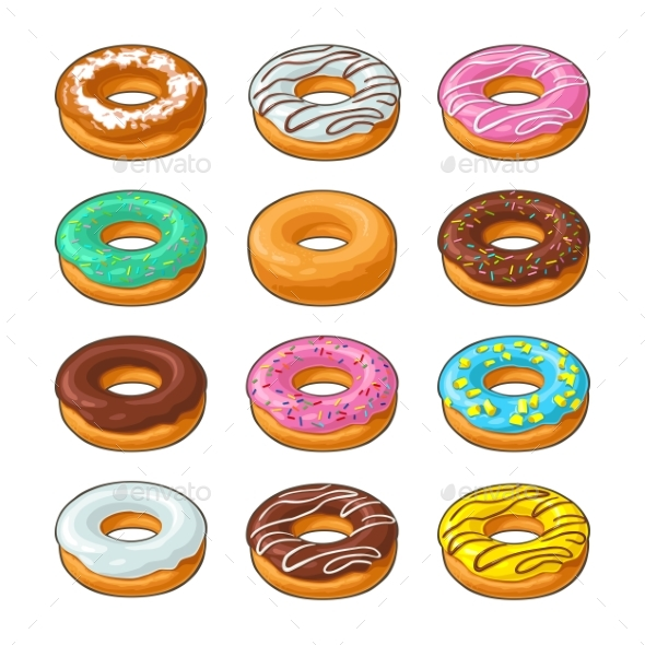 Donut with Different Icing Set - Man-made Objects Objects