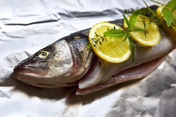 Trout and ingredients - Stock Photo - Images