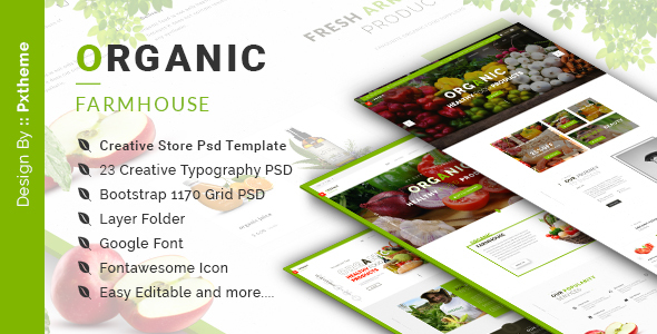 Organic Store PSD Template - Food Retail