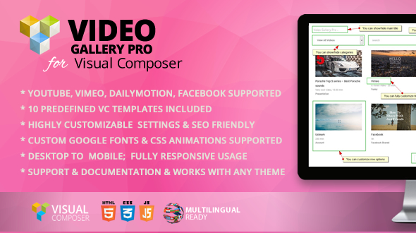 Video Gallery Pro Addon for WPBakery Page Builder (formerly Visual Composer) - CodeCanyon Item for Sale