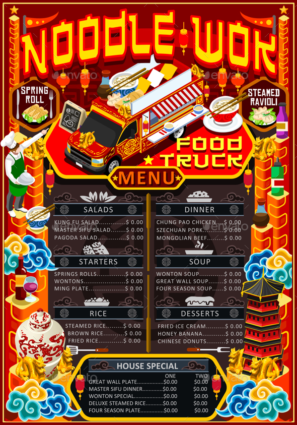 Food Truck Menu Street Food Chinese Wok Festival Vector Poster - Food Objects