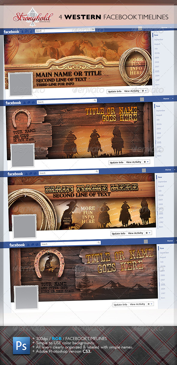 4 Western Vintage Facebook Timelines - Social Media Web Elements