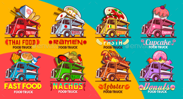 Fast Food Truck Van Restaurant Delivery Vector Icon Logo Pack - Food Objects