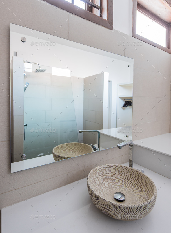Urban apartment - white bath counter and vessel sink - Stock Photo - Images