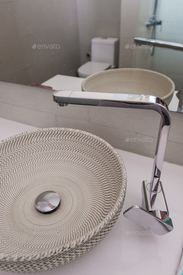Modern sink in the bathroom - Stock Photo - Images