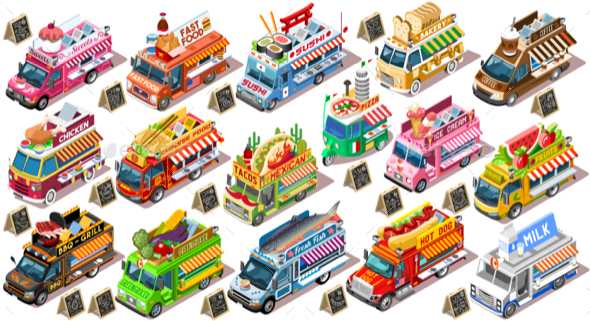 Fast Food Truck Van Vector 3D Isolated Isometric Vehicle Pack - Food Objects