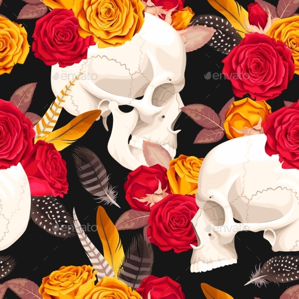Skull and Flowers Seamless Background - Flowers & Plants Nature