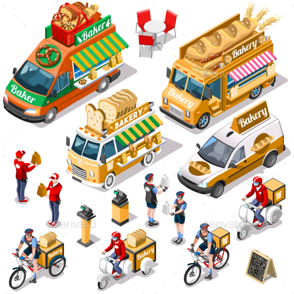 Food Truck Bakery Bread Delivery Vector Isometric Vehicle Pack - Food Objects