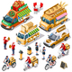 Food Truck Bakery Bread Delivery Vector Isometric Vehicle Pack - GraphicRiver Item for Sale