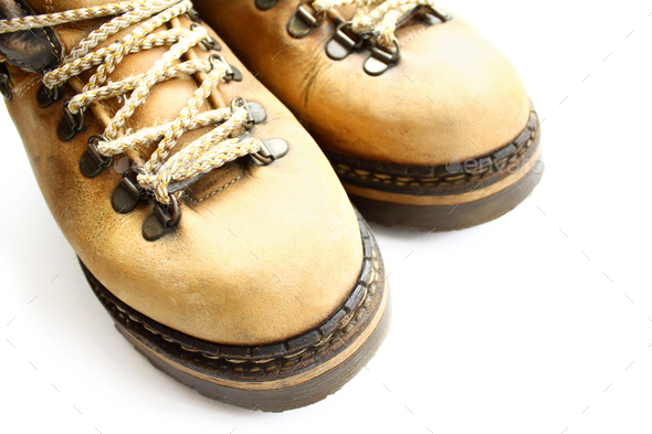 closeup of old yellow boots - Stock Photo - Images