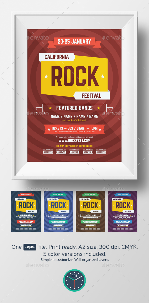 Rock Festival Poster Template - Clubs & Parties Events