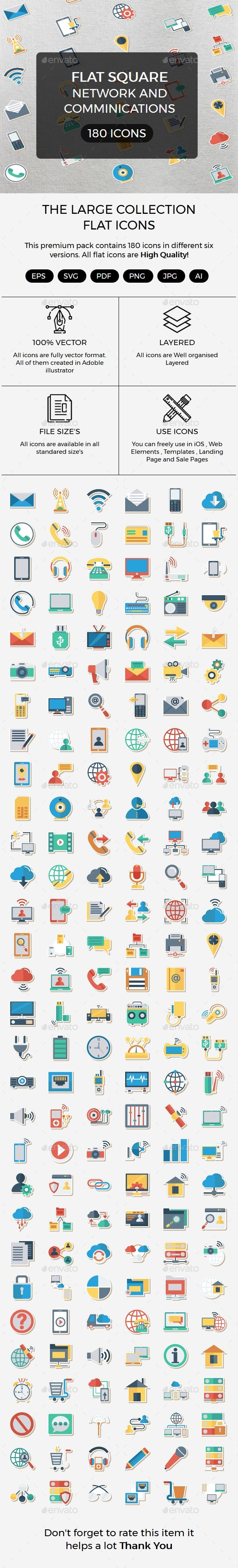 Network and Comminications Flat Paper icon - Icons