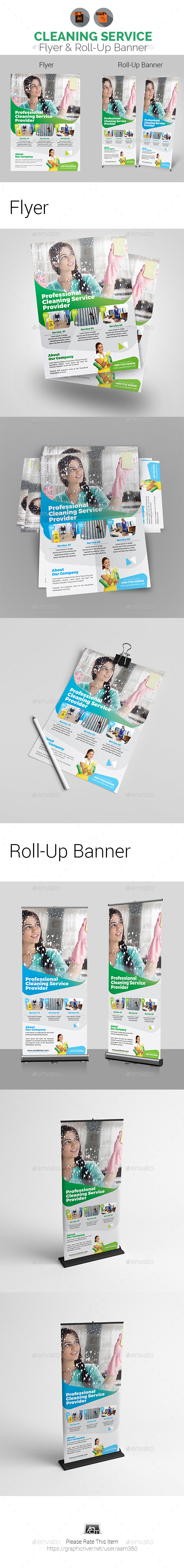 Cleaning Services Flyer & Roll-Up Banner - Print Templates