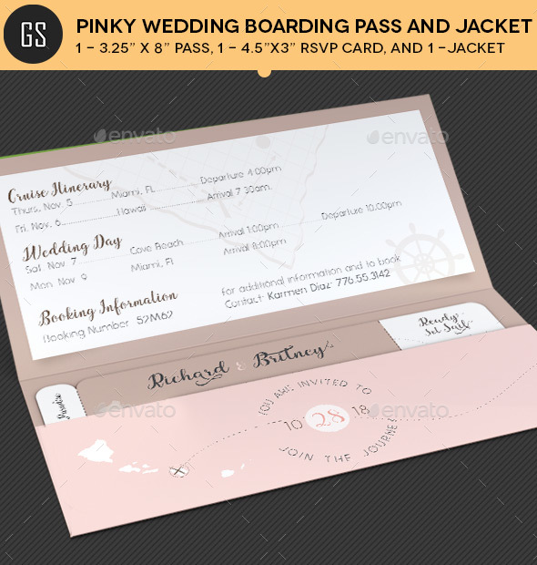 Pinky Wedding Boarding Pass Invitation Template