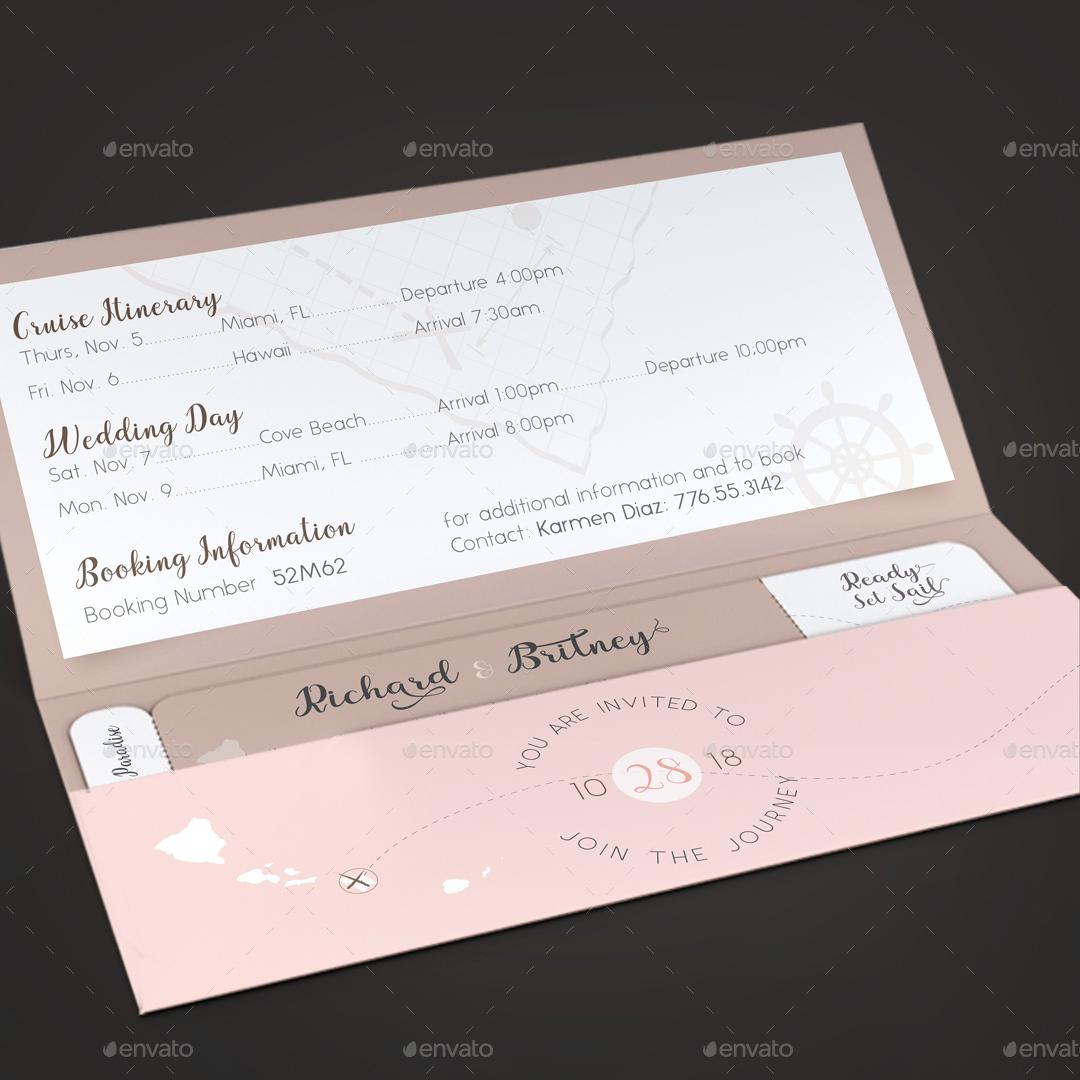 Pinky Wedding Boarding Pass Invitation Template by Godserv ...