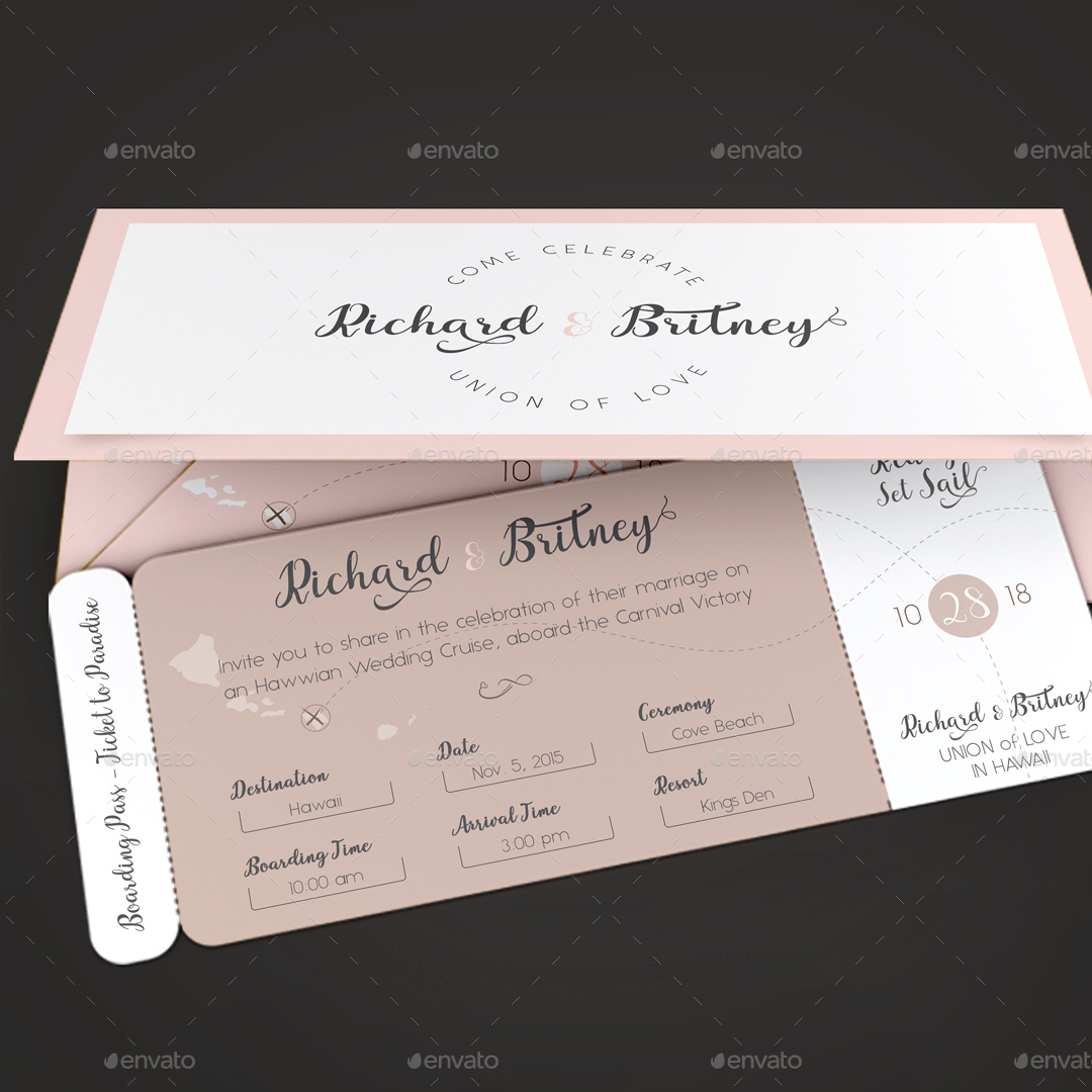 Pinky Wedding Boarding Pass Invitation Template By Godserv - Boarding pass wedding invitation template