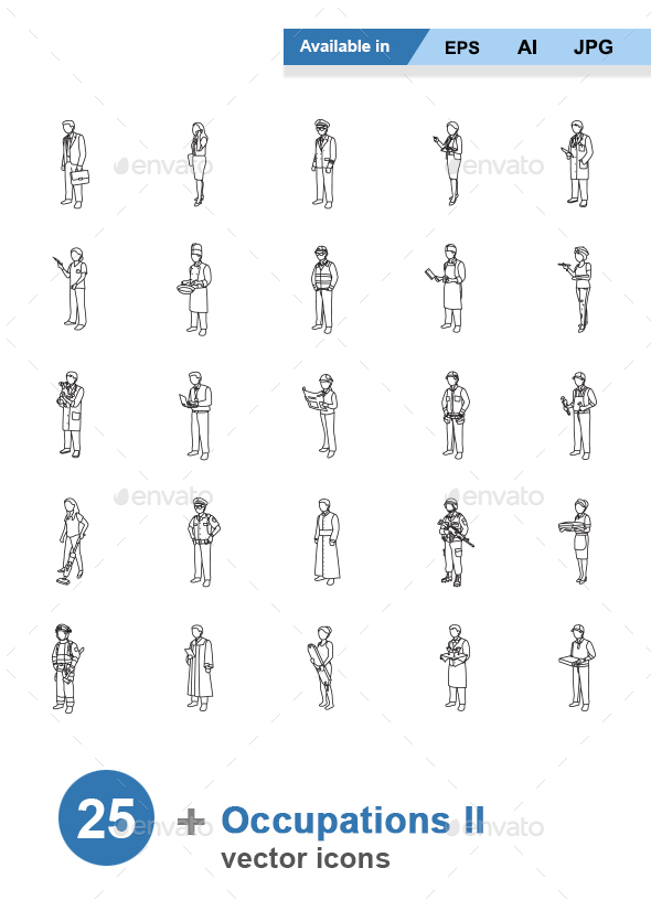 Occupations II Outlines Vector Icons - People Characters