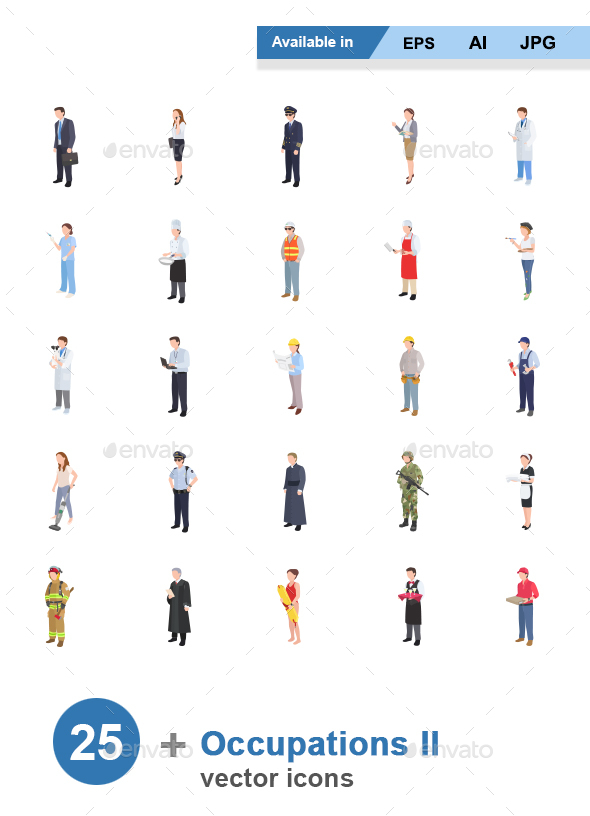 Occupations II Color Vector Icons - People Characters