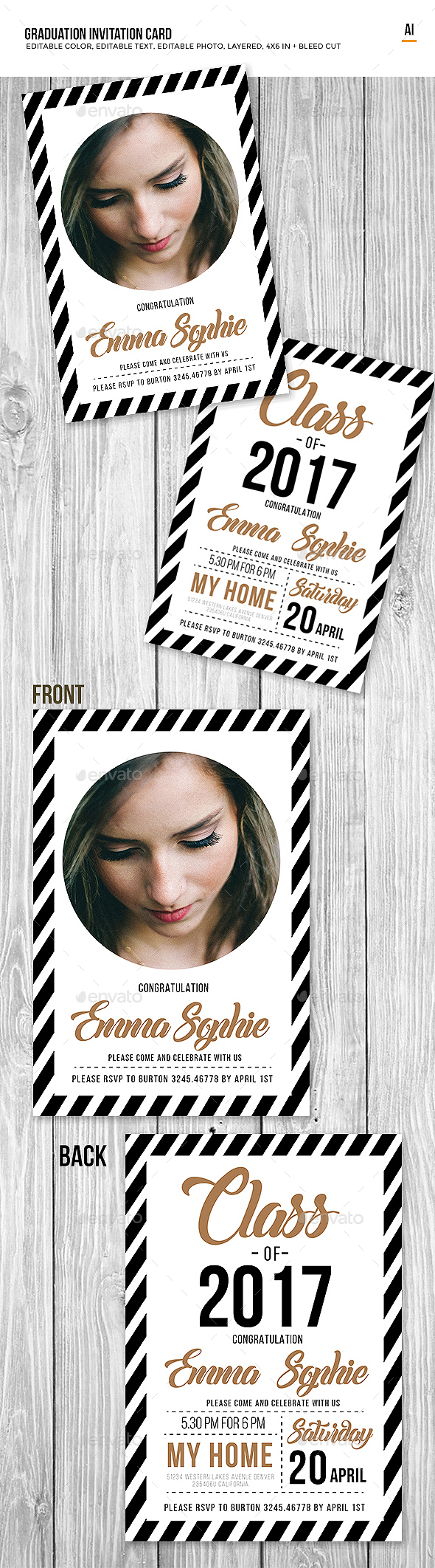 Graduation Invitation Card - Cards & Invites Print Templates