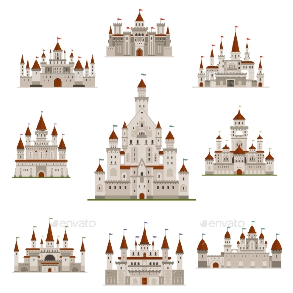 Castle or Mideval Fairy Tale Fortress Vector Icons - Buildings Objects