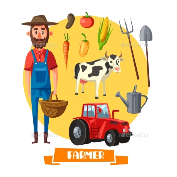 Farmer Profession and Farm Agriculture Vector - People Characters