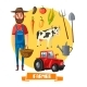 Farmer Profession and Farm Agriculture Vector - GraphicRiver Item for Sale