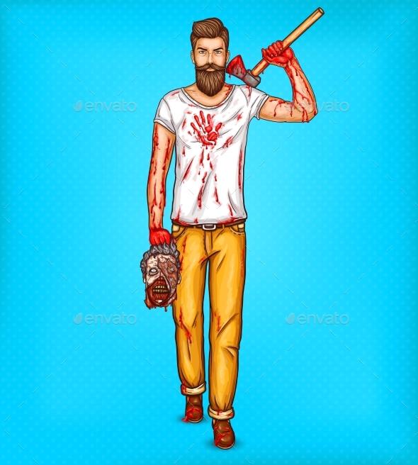 Pop Art Brutal Bearded Man - People Characters