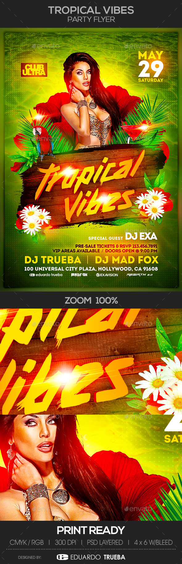 Tropical Vibes Party Flyer - Clubs & Parties Events