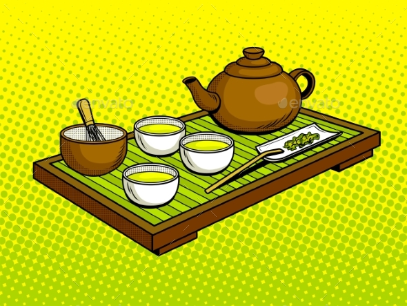 Set for Tea Ceremony Pop Art Vector Illustration - Food Objects