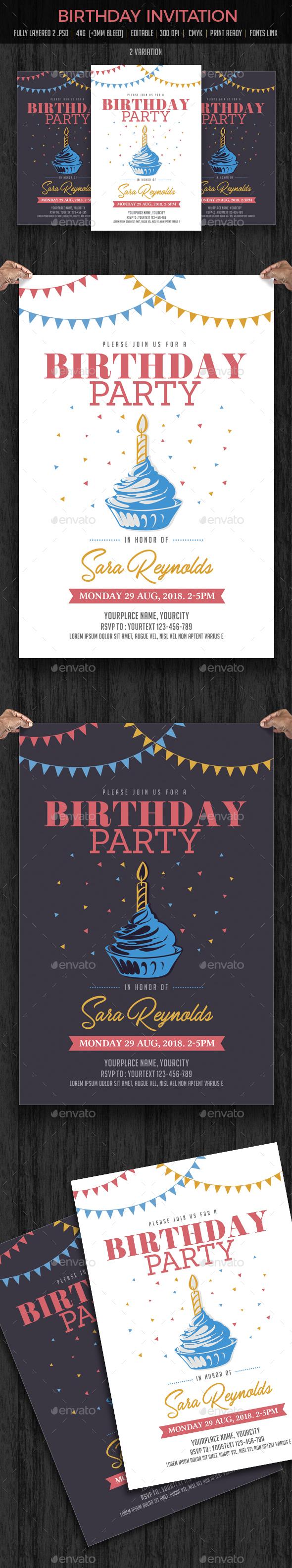 Birthday Invitation - Cards & Invites Print Templates