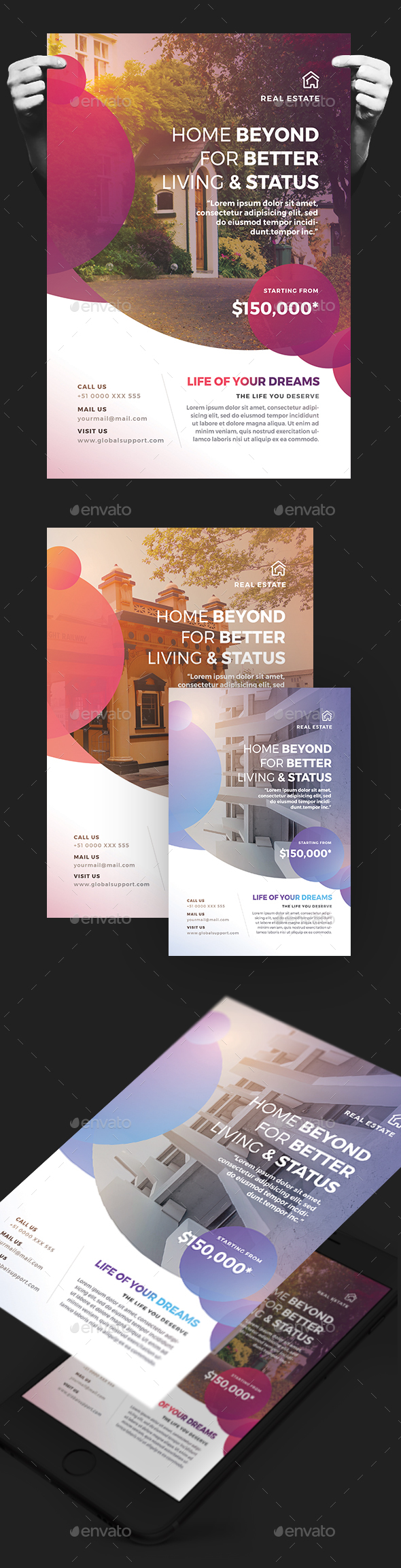 Creative Colorful Real Estate Flyer - Corporate Flyers