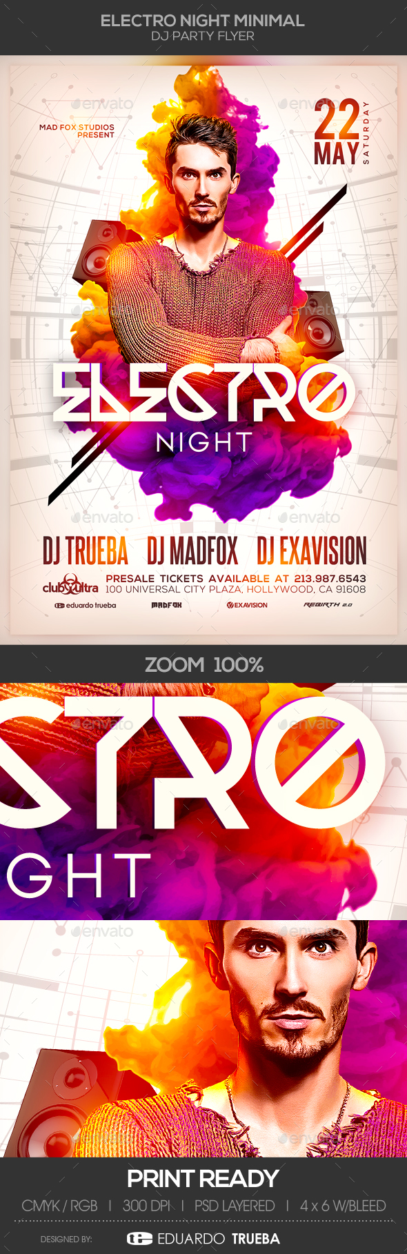 Electro Night EDM Minimal Dj Party Flyer - Clubs & Parties Events