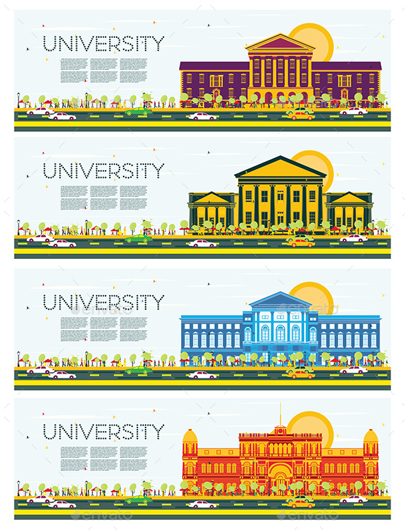 Set of University Study Banners. - Buildings Objects