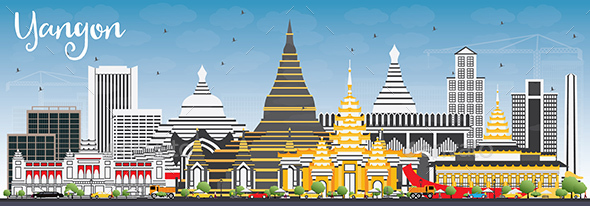 Yangon Skyline with Gray Buildings and Blue Sky. - Buildings Objects