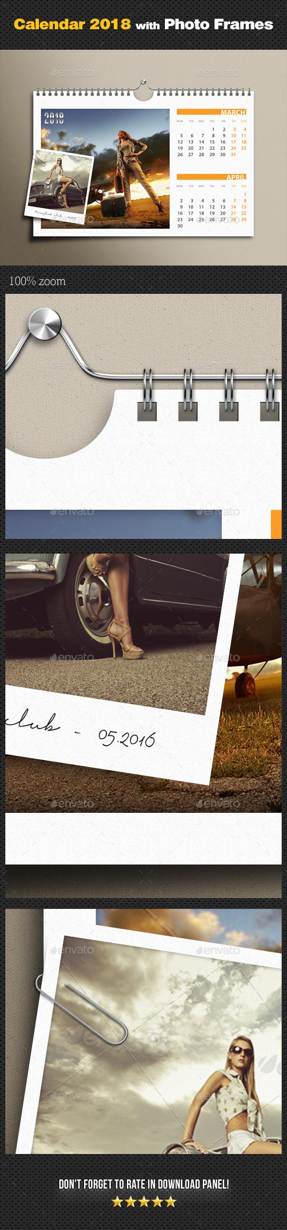 Customizable Calendar 2018 Photo Frame v02 - Miscellaneous Photo Templates