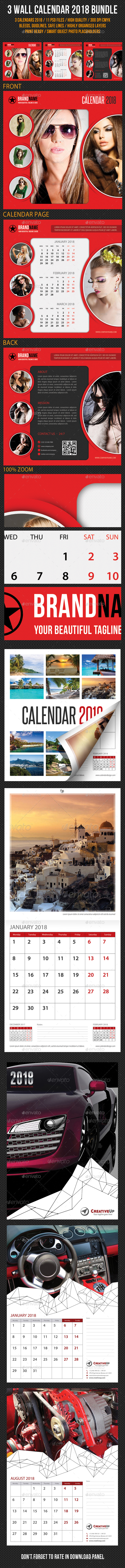 3 in 1 Wall Calendar 2018 Bundle