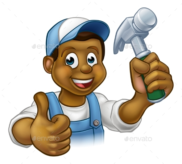 Cartoon Black Carpenter Character - Industries Business