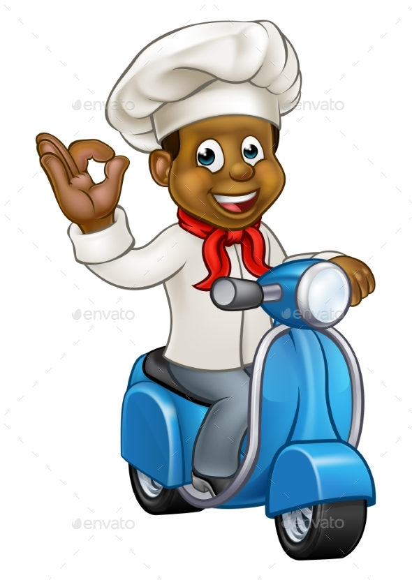 Cartoon Delivery Moped Chef - People Characters